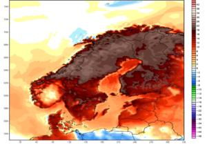 Skandinávie - teplotní anomálie v červenci 2018