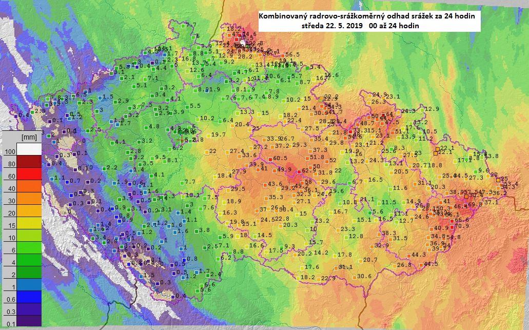 Srážky v krajích Jihomoravský a Vysočina 19. až 23. 5. 20191 min čtení
