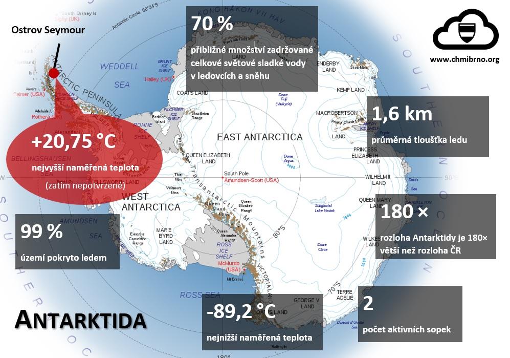 Nový teplotní rekord pro Antarktidu, poprvé nad +20 °C2 min čtení