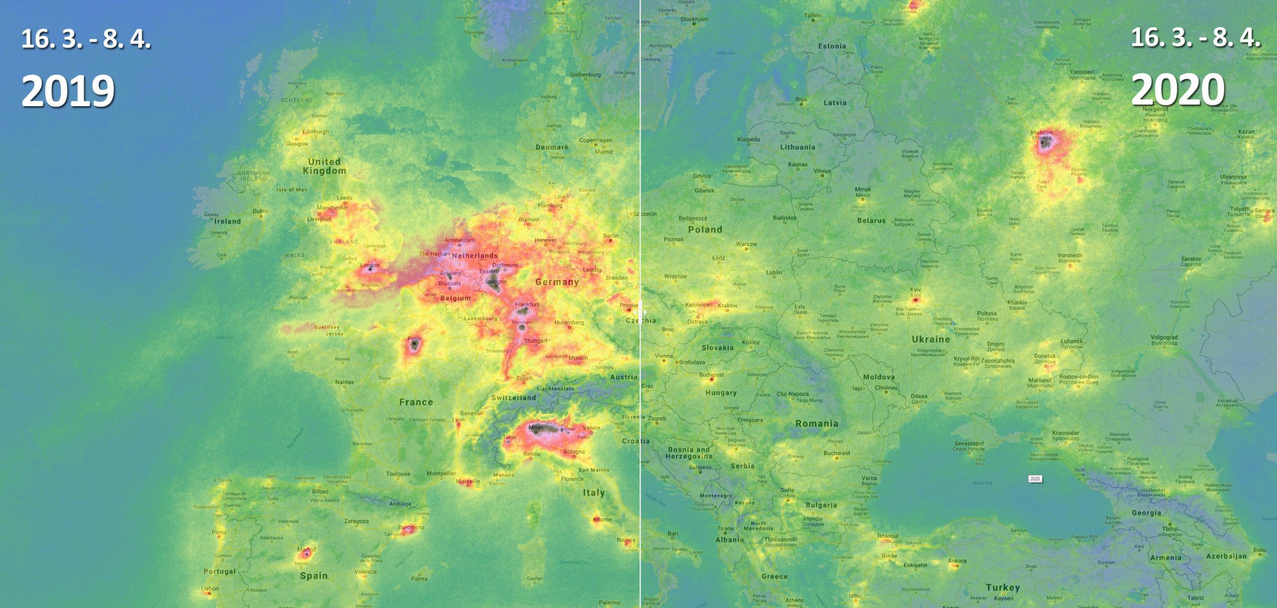Snímky z družice Sentinel-5P aneb změna koncentrací NO2 oproti roku 2019 – ČR, Evropa, svět5 min čtení