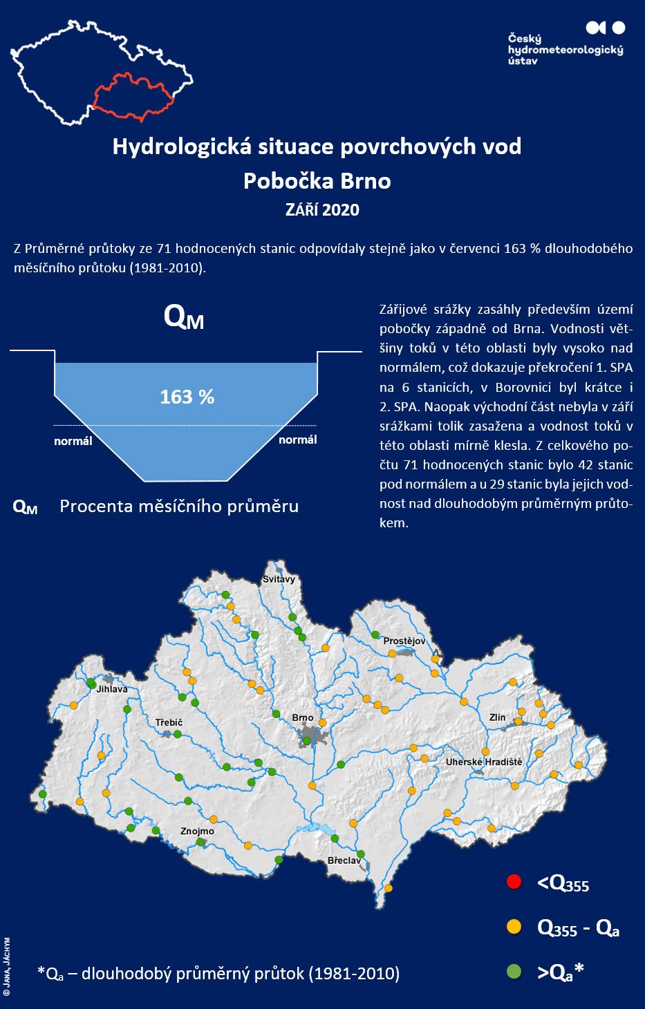 Hydrologická situace povrchových vod Pobočka Brno – září 20201 min čtení