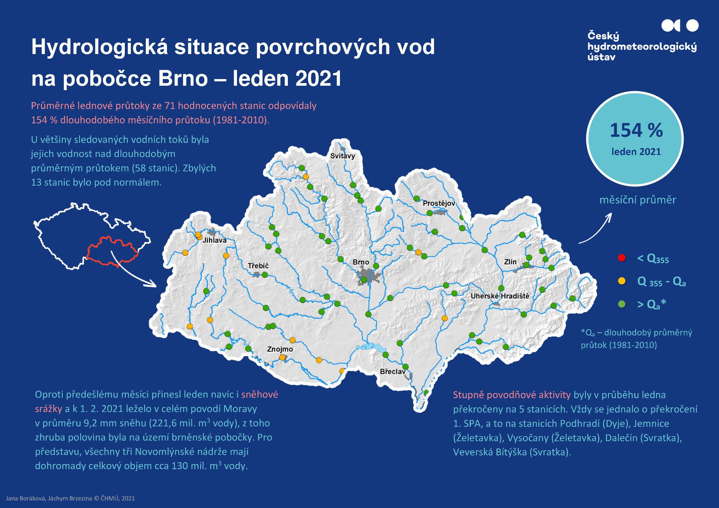 Hydrologická situace povrchových vod na pobočce Brno – leden 20211 min čtení