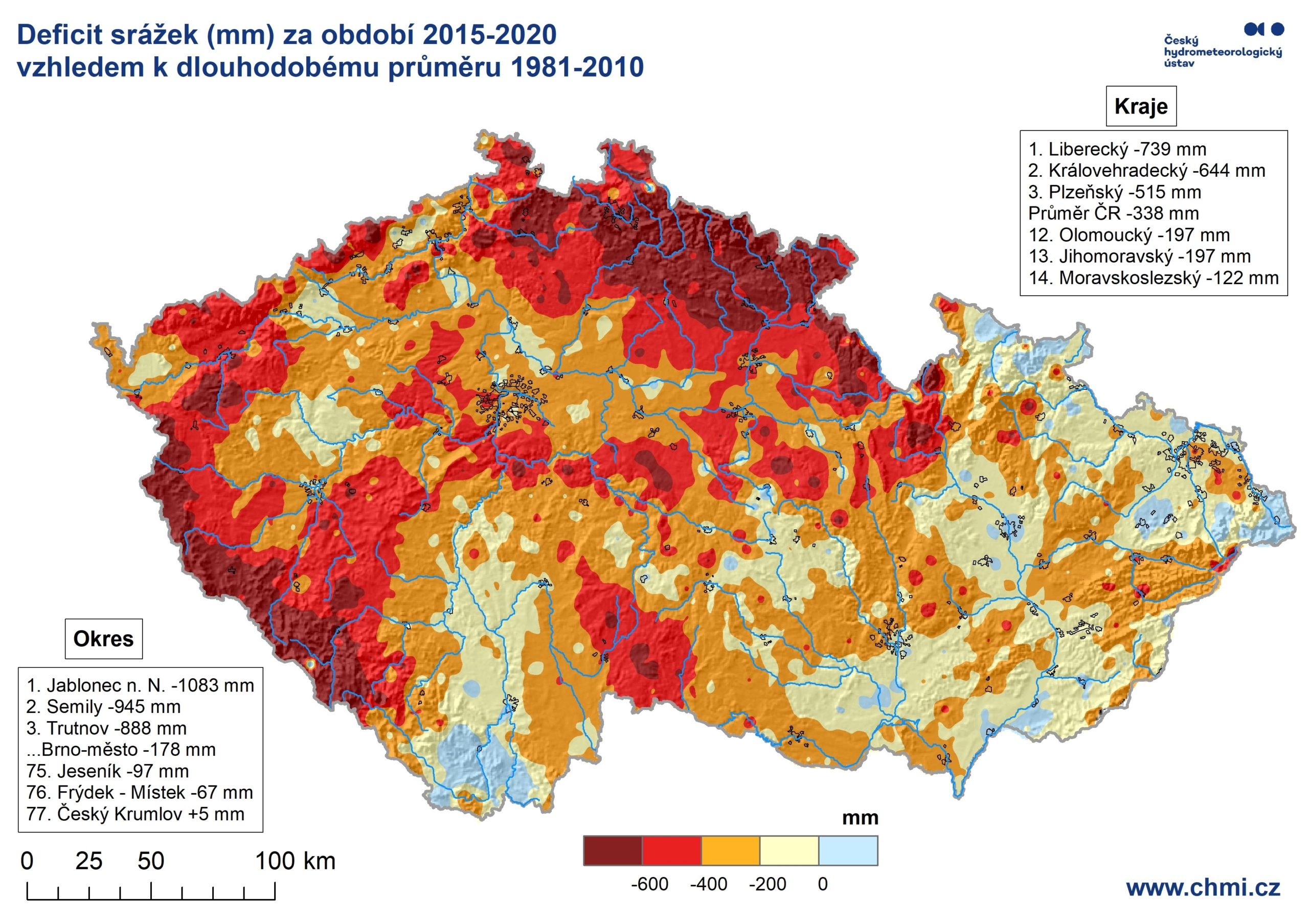 Deficit srážek a průměrné teploty za období 2015-20202 min čtení
