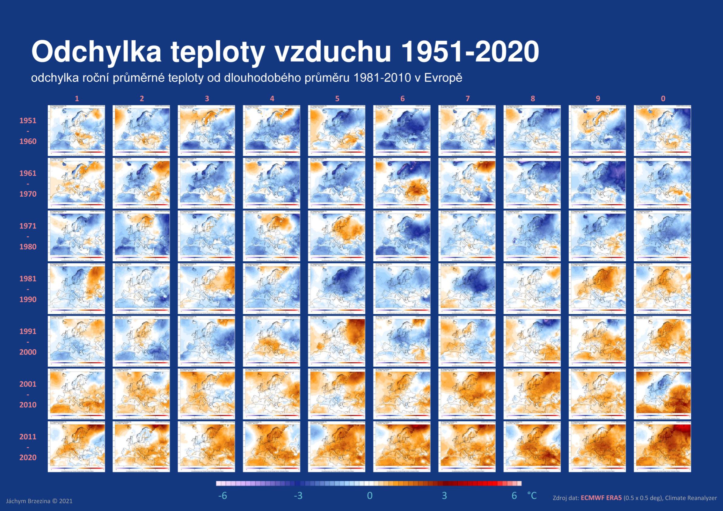 Odchylka teploty vzduchu v Evropě 1951-2020*