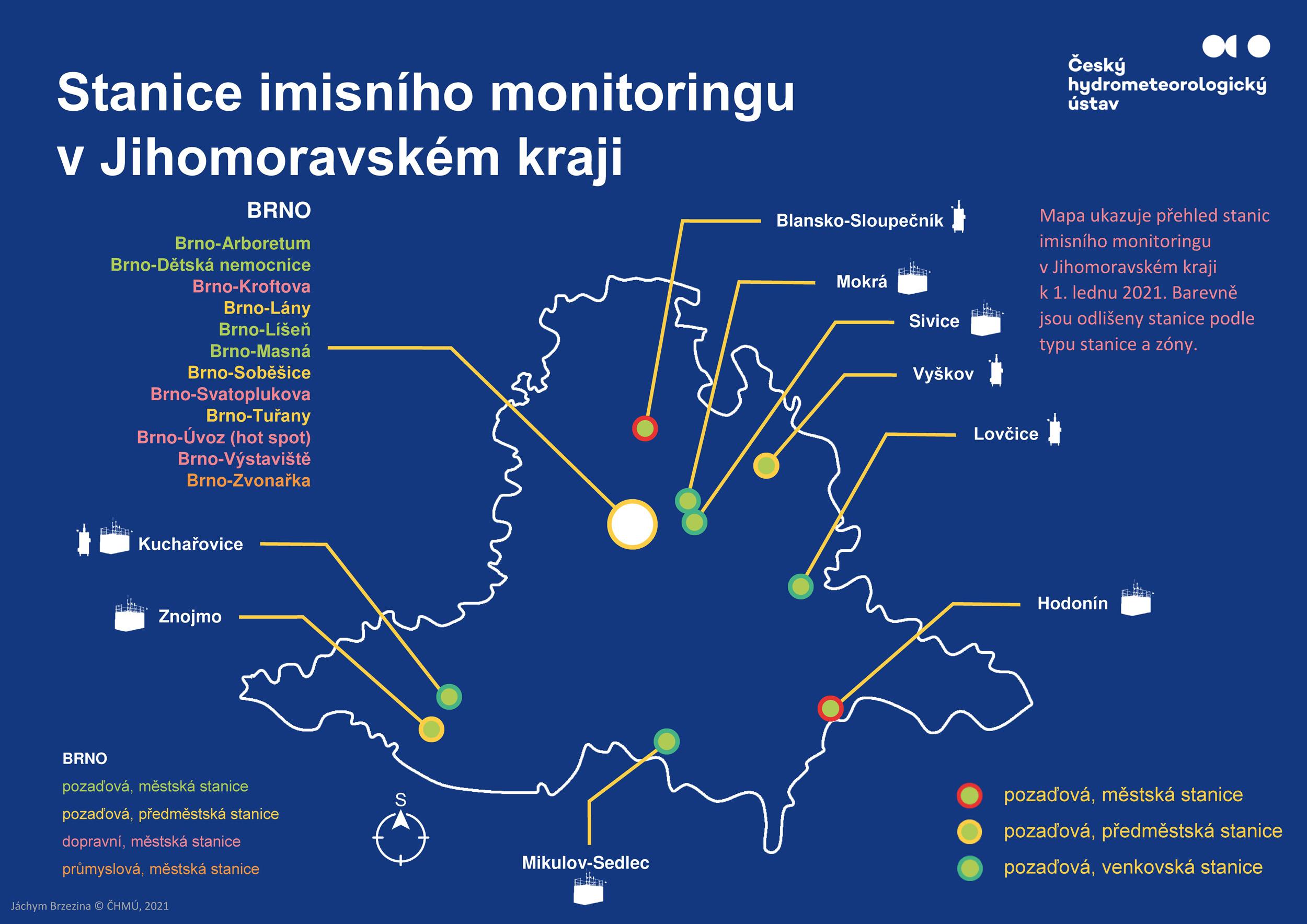 Stanice imisního monitoringu v Jihomoravském kraji*