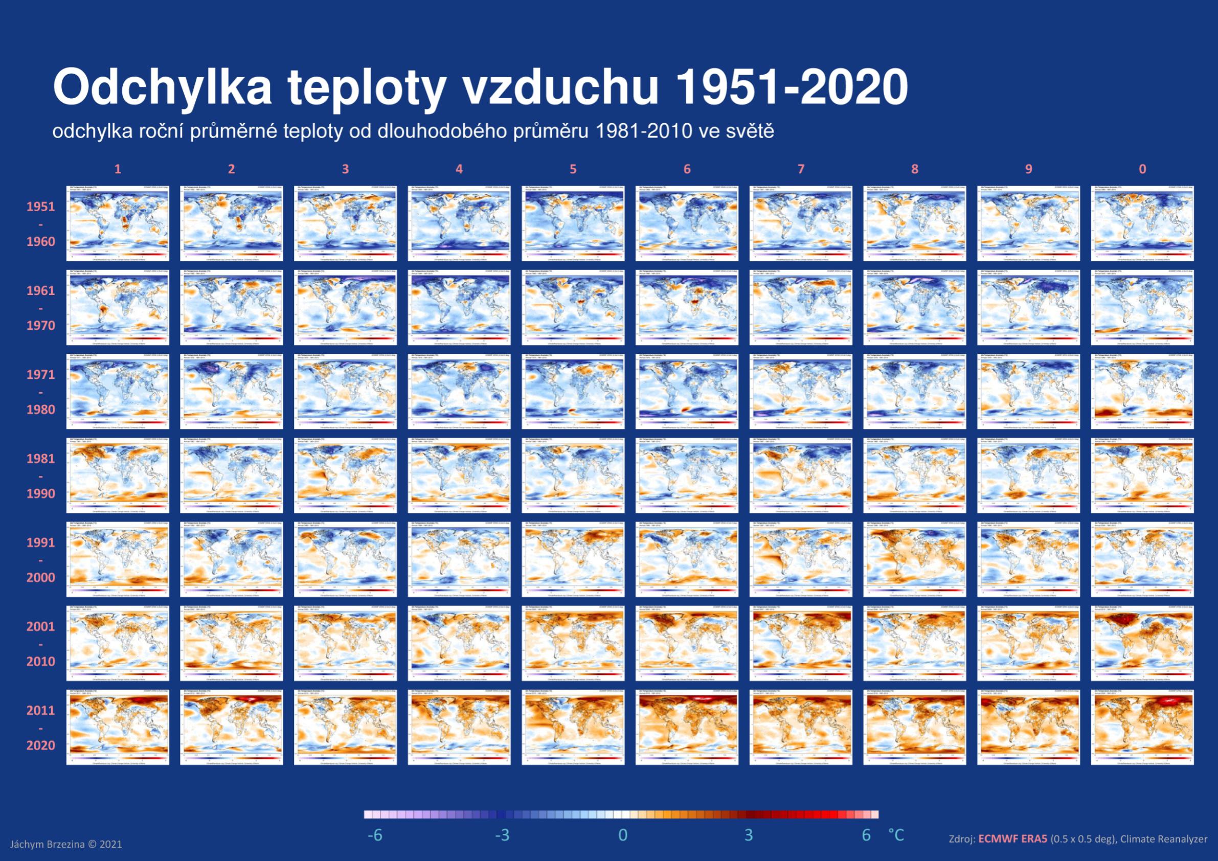 Odchylka teploty vzduchu ve světě 1951-2020*