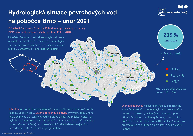 Hydrologická situace povrchových vod na pobočce Brno – únor 20211 min čtení