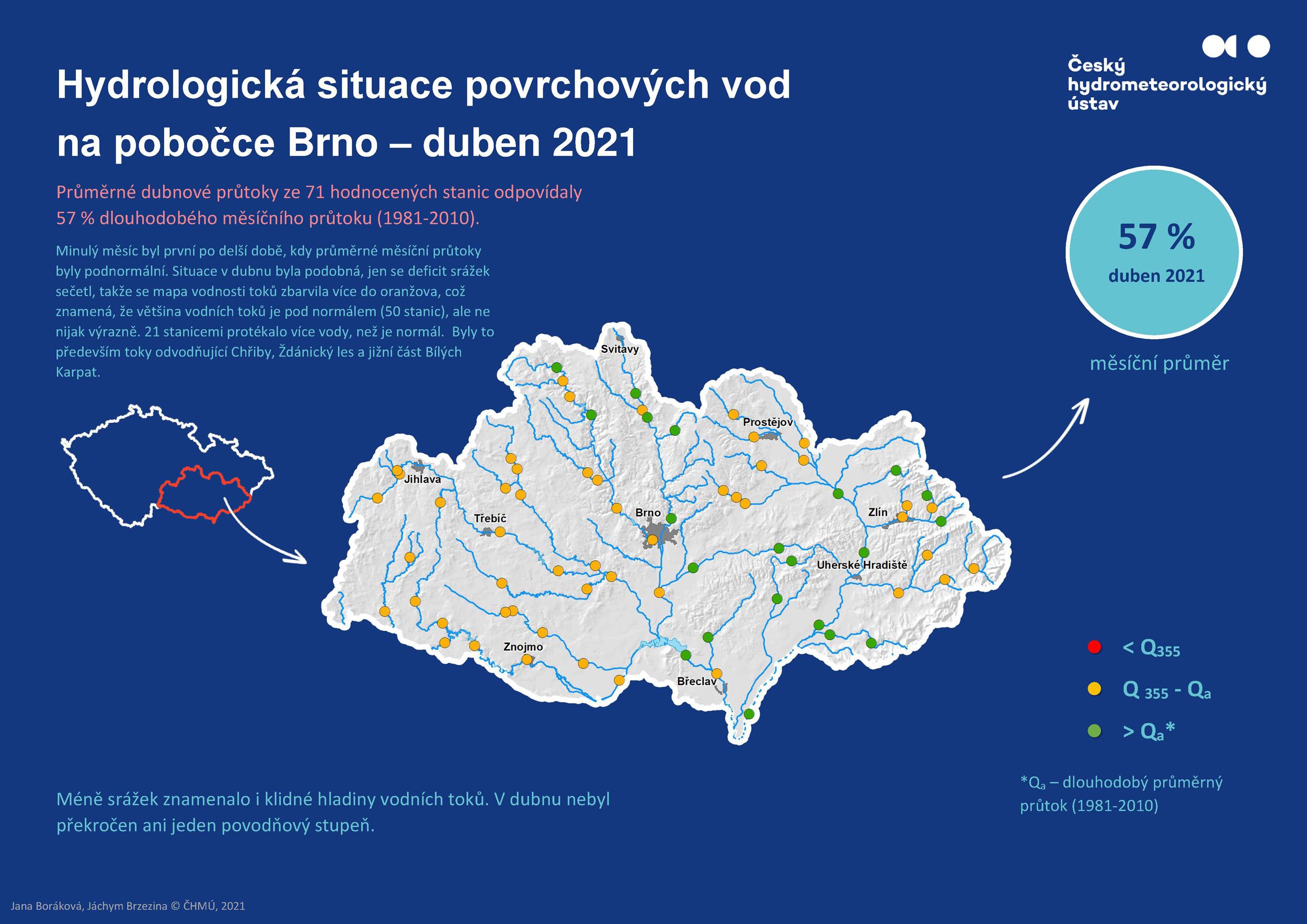 Hydrologická situace povrchových vod na pobočce Brno – duben 20211 min čtení