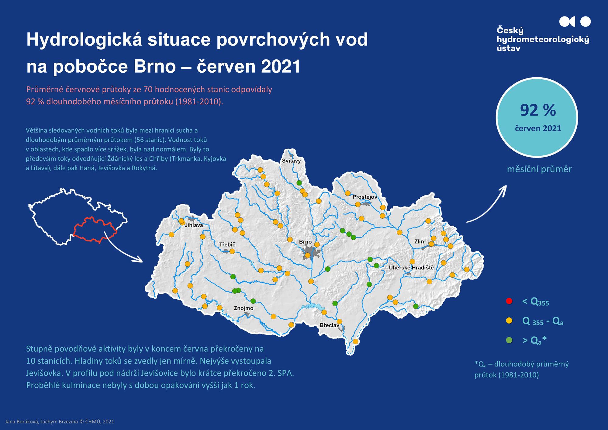 Hydrologická situace povrchových vod na pobočce Brno – červen 20211 min čtení